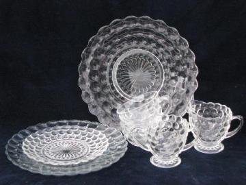 bubble pattern, depression pressed glass dishes lot, vintage Anchor Hocking