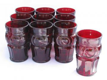 bullseye mod dots pattern glass tumblers, vintage Wheaton, 10 ruby red glasses