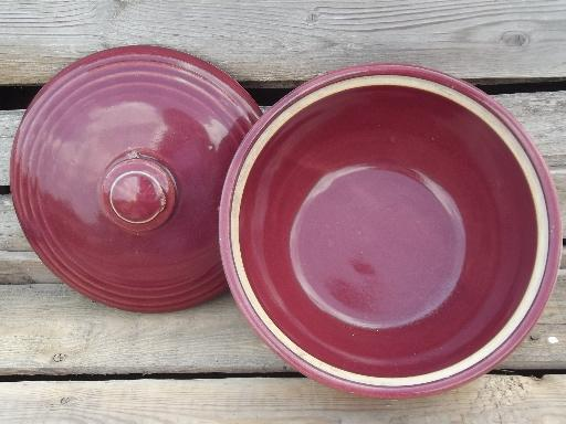 burgundy wine vintage USA pottery bowl w/lid, bean pot or casserole dish