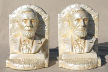 bust of Abraham Lincoln chalkware statue bookends w/ vintage House of David label