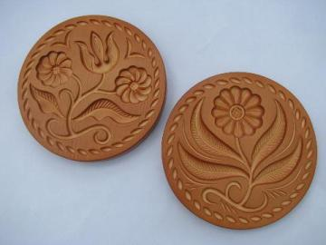 butter mold print, vintage Miller signed chalkware wall plaques for kitchen