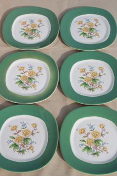 buttercup floral Taylor Smith Taylor TS&T Conversation green band china plates