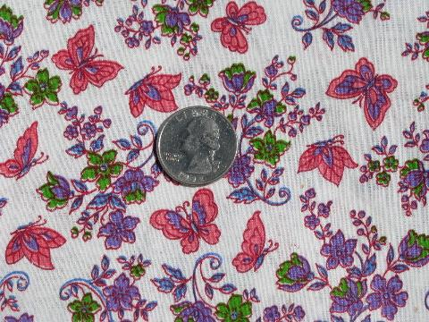 butterflies and pretty flowers, vintage 36'' wide cotton print fabric