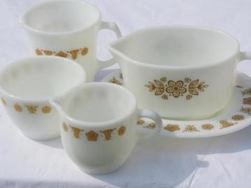 butterfly gold vintage Pyrex glass serving pieces to go with Corelle