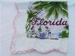 Vintage printed cotton Florida souvenir map hankie