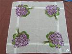 Violets print, original label cotton hankie