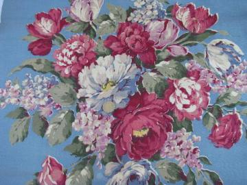 cabbage roses floral on blue, vintage 1920s linen weave heavy cotton fabric