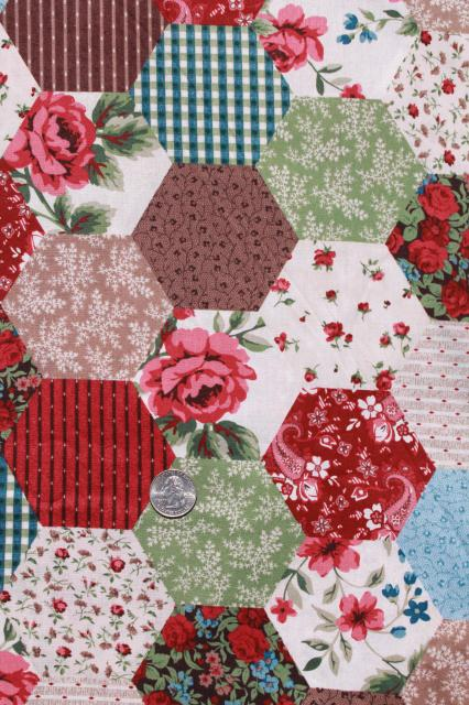 calico hexies cheater patchwork print cotton quilting fabric, 9+ ... : print pictures on fabric for quilts - Adamdwight.com