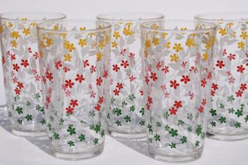 calico print vintage glass tumblers, swanky swig drinking glasses w/ all over flowers