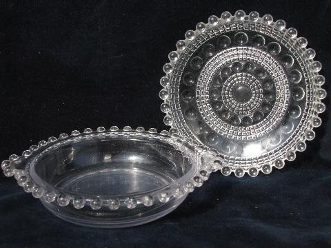 candlewick bead edge pattern, vintage glass dish & double handled bowl