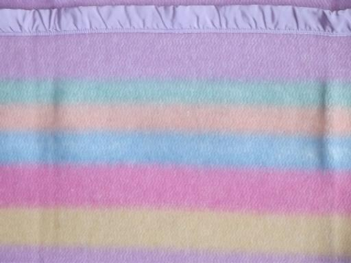 candy striped lavender wool camp blanket, 1950s vintage, never used