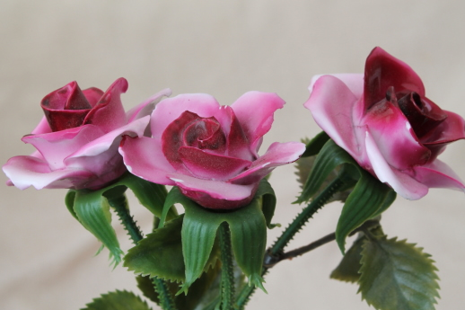 Capodimonte Style Vintage China Flowers Long Stemmed Rose