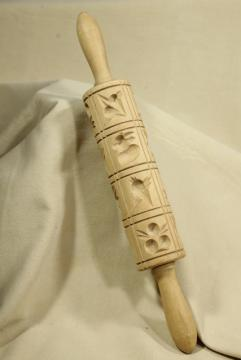 carved wooden rolling pin, vintage springerle Christmas cookie mold press