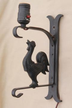 cast iron all metal rooster wall mount lamp, 40s - 50s vintage pin-up type light