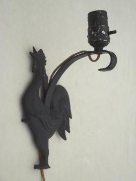 cast metal rooster wall mount lamp, 40s - 50s vintage pin-up type light