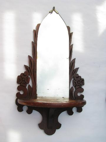 cathedral window fretwork, pair early 1900s walnut bracket shelves w/ mirrors