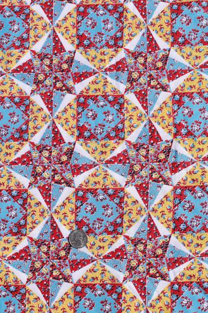 Cheater Patchwork Quilt Print Cotton Fabric Vintage