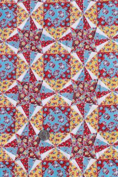 cheater patchwork quilt print cotton fabric, vintage quilting material