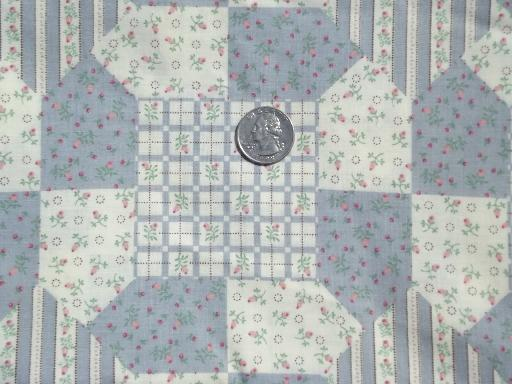 cheater quilt patchwork print cotton, 80s Fabric Traditions blue and pink