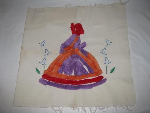 chenille & embroidery crinoline lady on cotton pillow cover, 1940s vintage
