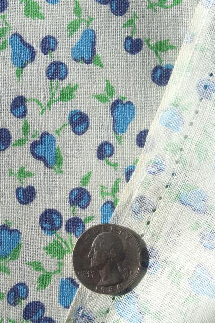 cherries & pears blue and white print cotton feedsack fabric, 40s 50s vintage