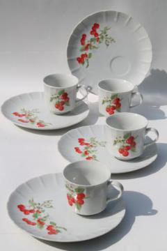 cherries print china snack sets, Toscany marischino cherry tea cups w/ plates