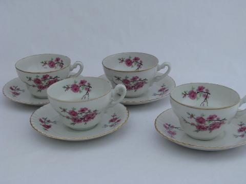 cherry blossom vintage china cups & saucers, japan