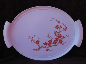 cherry blossoms print melmac tray, mid-century mod vintage melamine