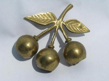 cherry bunch solid brass cherries bells, small table bell