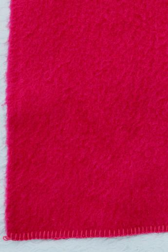 cherry red vintage wool blanket w/ Van Wjk Holland label, thick & shaggy, very soft