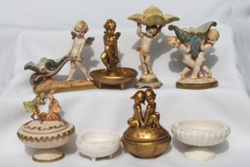 cherubs & baby angels Depose Italy vintage composition plastic egg shaped boxes & stands for eggs