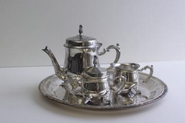 child's size vintage silver plated tea pot set, tea party toy doll dishes
