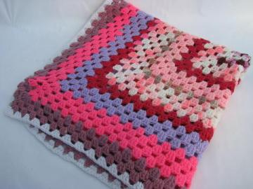 child's size throw or blanket, vintage crochet granny square afghan - pink!