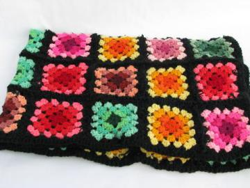child's size throw or blanket, vintage crocheted granny square afghan, black w/ brights