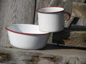 child's size vintage bowl and cup, primitive old red and white enamelware