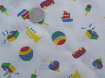 child's toy print fabric in bright colors