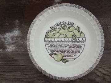 china pie plate w/ Strawberry Pie recipe, vintage ceramic pie pan
