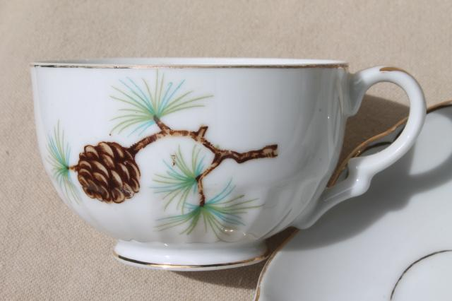 china snack sets w/ rustic pine pinecones pattern plates u0026 tea cups vintage holiday dishes & china snack sets w/ rustic pine pinecones pattern plates u0026 tea cups ...