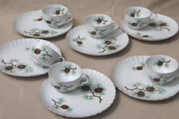 china snack sets w/ rustic pine pinecones pattern plates & tea cups, vintage holiday dishes