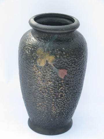 Chinoiserie Chrysanthemum Flowers On Matte Black Vintage