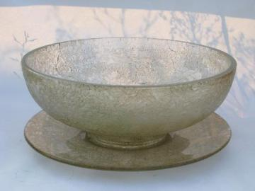 chintz pattern pressed glass, huge heavy bowl & plate, gold over crystal