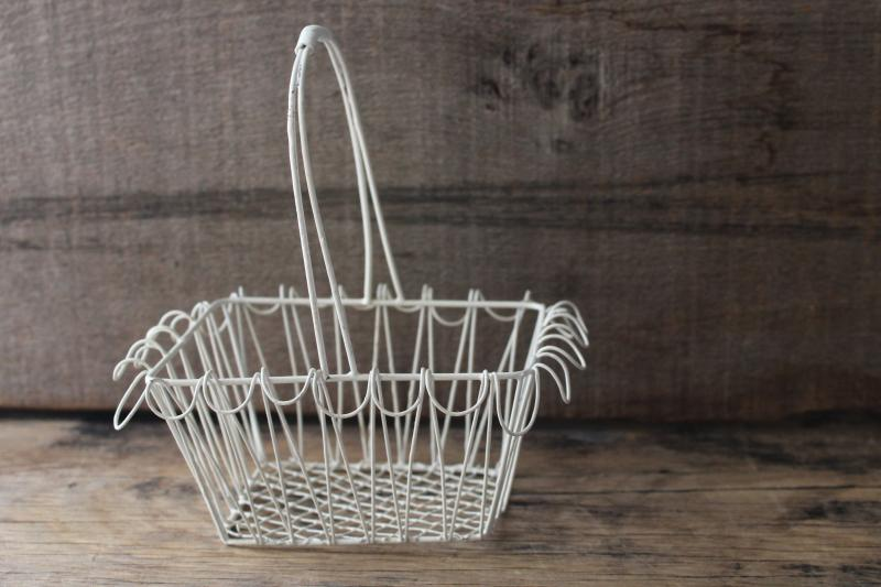 chippy white vintage wire basket, mini wirework basket rustic farmhouse decor