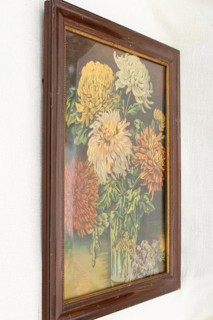 chrysanthemums antique color litho print still life floral picture in old wood frame
