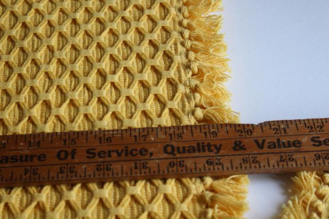 chunky hand woven cotton placemats, rustic country farmhouse table linens, mustard yellow gold