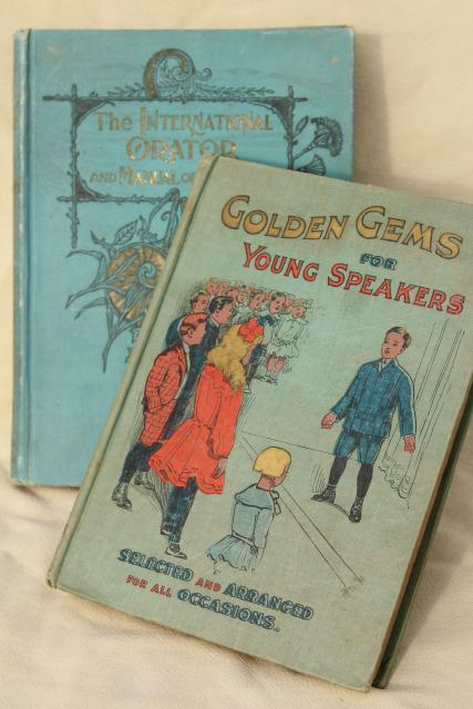 circa 1900 antique vintage books public speaking & orations, inspiration, speeches, poetry