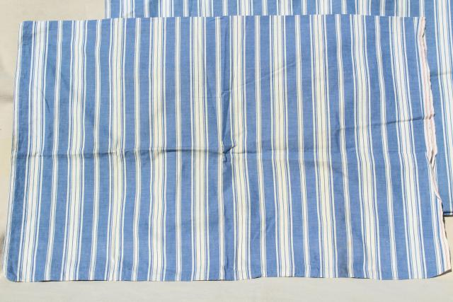 circa 1900 blue striped cotton shirting pillowcases, antique vintage fabric