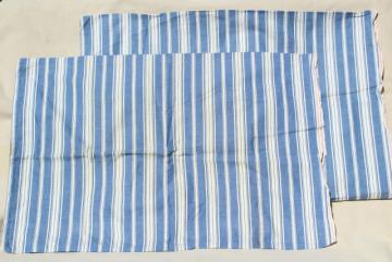 circa 1900 blue striped cotton shirting pillowcases, antique vintage fabric