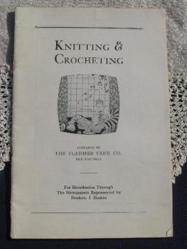 circa 1916 wool yarn knitting and crochet pattern booklet, sweaters etc.