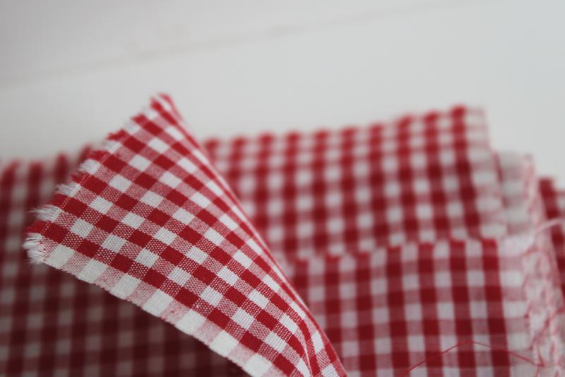 classic red & white checked gingham fabric, vintage 36 wide cotton for quilting etc.