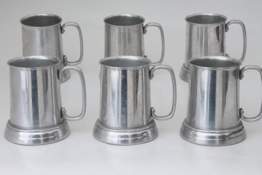 Clear Bottom Beer Steins Set Of Six Vintage Pewter